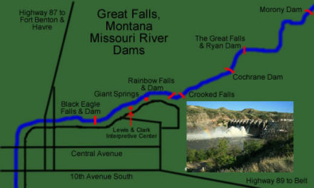 The Great Falls of the Missouri River in Great Falls, Montana